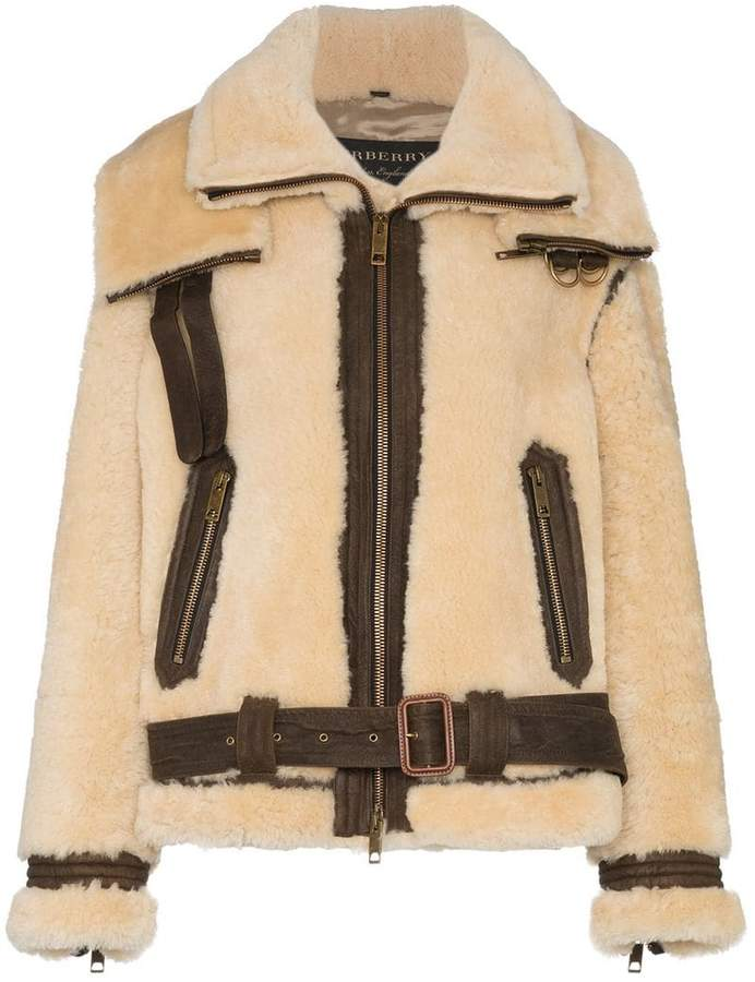 Burberry Oversized Shearling Aviator Jacket