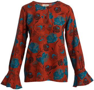 Très Jolie Women's Blouses RUST - Rust & Turquoise Floral Keyhole Bell-Sleeve Tunic - Women