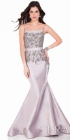 Terani Couture Beaded Fish Tail Back Evening Gown