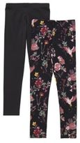 F&F 2 Pack of Sparkle Floral and Plain Leggings, Girl's