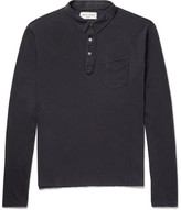 Officine Generale Slim-fit Garment-dyed Cotton-jersey Polo Shirt - Navy