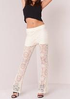 Missy Empire Bekka Cream Crochet Overlay Flared Trousers