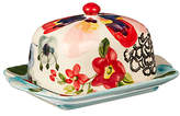 Anthropologie Painted Amaryllis Butter Dish, Multi, 17cm