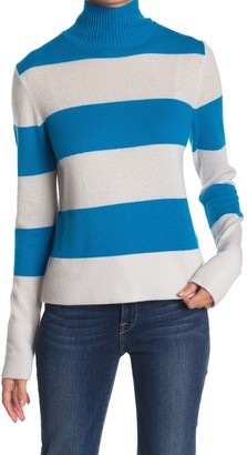 525 America Cashmere Mock Neck Rugby Stripe Print Sweater