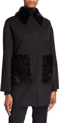 Valentino Double Felt Wool-Cashmere Coat with Studded Mink Fur Trim