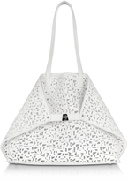 Akris Ai Medium White Laser Cut Leather Tote Bag w/Inner Canvas Tote