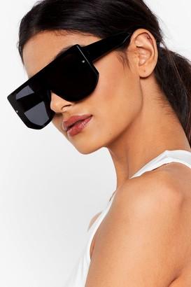 Nasty Gal Womens Flat Top of Your Game Aviator Sunglasses - Black