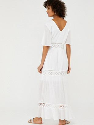 Accessorize Lace Insert Sleeved Maxi Dress - White