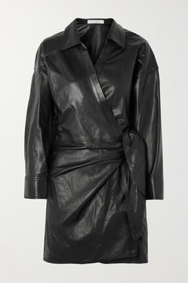 IRO Perrine Leather Wrap Dress - Black