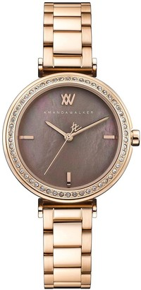 Amanda Walker Grace Bronze Mother of Pearl and Crystal Set Dial Rose Gold Stainless Steel Bracelet Ladies Watch