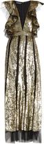 Alexander McQueen Mesh-insert ruffled sequinned gown