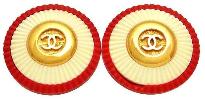 Chanel CC Logo Gold Tone Metal Red White Round Earrings