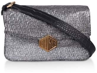 Kurt Geiger Womens London Silver Geiger Fabric Bag - Silver
