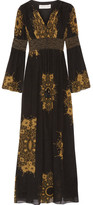 Rachel Zoe Blair Embellished Printed Crinkled Silk-chiffon Gown - Black