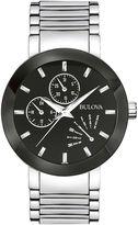 Bulova Mens Black-Dial Stainless Steel Watch 96C105