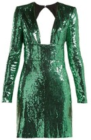 Dundas Cut-out Back Sequined Dress - Womens - Green