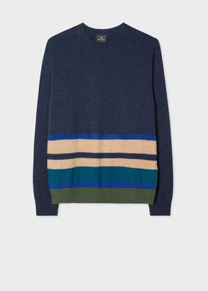 Paul Smith Men's Navy Wool-Blend Stripe-Hem Sweater