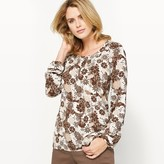 Anne Weyburn Stretch Satin Printed Blouse