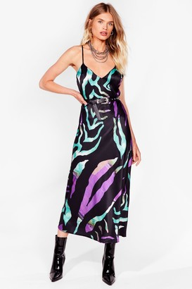 Nasty Gal Womens Sleek for Yourself Abstract Midi Dress - Purple - 6