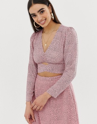 Fashion Union wrap front blouse in polka-Pink