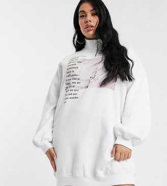 Public Desire Curve oversized sweat dress with ring pull and self care graphic-White