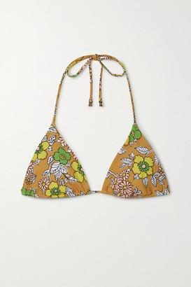 Tory Burch Floral-print Triangle Bikini Top - Yellow