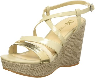 Lumberjack Womens Antibe Wedge Sandals with Ankle Strap Gold Size: 3.5