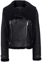Karen Millen Black Shearling Aviator Jacket