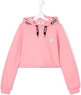 MSGM Teen logo patch hoodie