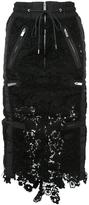 Sacai Layered Drawstring Lace Skirt