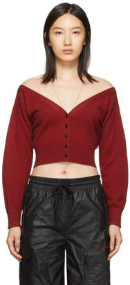 Alexander Wang Red Fitted Cropped Cardigan