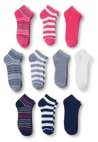 Modern Heritage Women's Stripe Solid Combo Low Cut Sock 10-Pack - Bright Pink 9-11