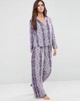Asos Moss Satin Snake Print Pajama Top & Wide Leg Set