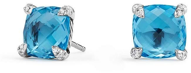 David Yurman Ch'telaine® Stud Earrings with Blue Topaz and Diamonds