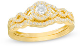 Zales 3/8 CT. T.W. Diamond Frame Twist Bridal Set in 10K Gold