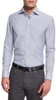 Ermenegildo Zegna Bicolor Striped Long-Sleeve Sport Shirt, Blue