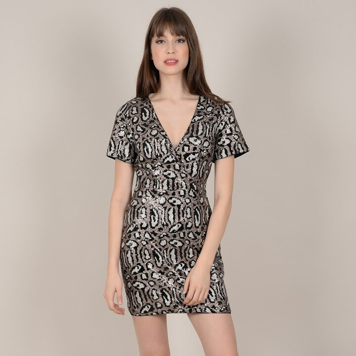 Molly Bracken Animal Print Sequined Dress with Short-Sleeves
