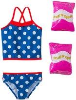 Jump N Splash Toddler Girls' Pretty Polka Dot TwoPiece Swimsuit w/ Free Floaties (2T-4T) - 8143021