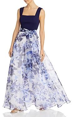 Brinker & Eliza Printed-Skirt Tie-Waist Gown