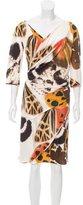 Blumarine Butterfly Print Silk Dress
