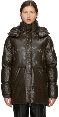 Rains Brown Satin Puffer Coat
