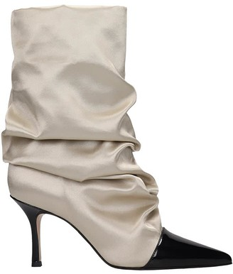 Marc Ellis High Heels Ankle Boots In Taupe Satin