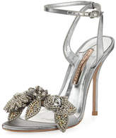 Sophia Webster Lilico Crystal Beaded Lamé Ankle-Wrap Sandal, Silver