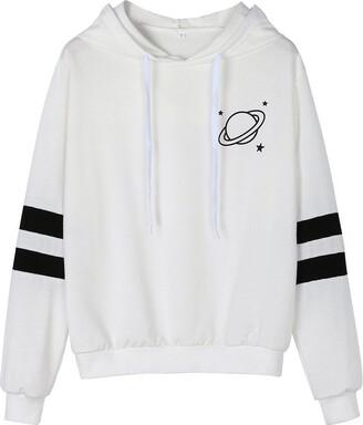 TUDUZ Hot Womens Fashion Long Sleeve Stripe Sweatshirt Simple Casual Planetary Printed Hoodie Pullover Tops Blouse (Black S)