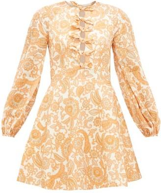 Zimmermann Peggy Bow-front Floral-print Linen Dress - Womens - Orange Print