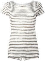 Majestic Filatures semi-sheer striped T-shirt - women - Linen/Flax - II