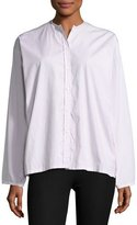 Joseph Albane Collarless Striped Cotton Button-Down Shirt, White