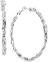 Touch of Silver Twisted Rope-Style Hoop Earrings in Silver-Plate
