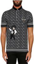 Dolce & Gabbana Polo Shirt In Printed Cotton Pique