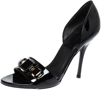 Gucci Black Patent Leather Crystal Embellished D'Orsay Peep Toe Sandals Size 38